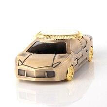 Sports Car Jet Lighter Clock Torch Turbo Lighter Men Gold Watch Quartz Compact Butane Cigarette Cigar Pipe Lighter Flated NO GAS