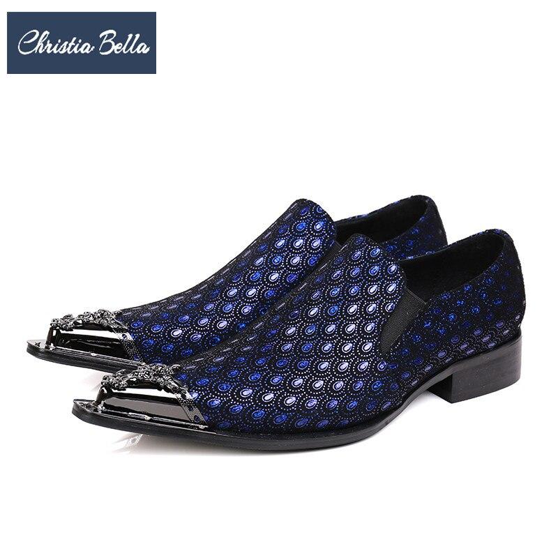 Christia Bella Fashion Italian Business Men Shoes Genuine Leather Dress Shoes Blue Men Wedding Party Formal Shoes Big Size