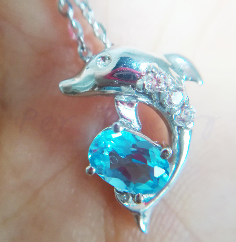 Fine Jewelry Knowledgeable Origin Blue Topaz Pendant Free Shipping Dolphin Style Natural Blue Topaz 925 Sterling Silver 0.6ct Gemstone #cy18070203