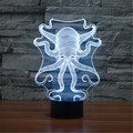 New USB Acrylic Watch The Seven Color Octopus Nightlight Bedroom Office LED Table Lamp Child Ocean World Christmas Gift 3D-TD158