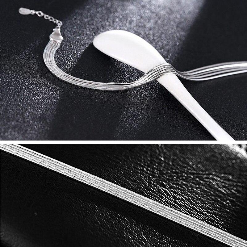 HTB18fAFe8LN8KJjSZPhq6A.spXa1 2018 New Simple Multilayer Tassel Snake chain Bracelet Genuine 100% 925 Sterling Silver jewelry for women chrismas gift