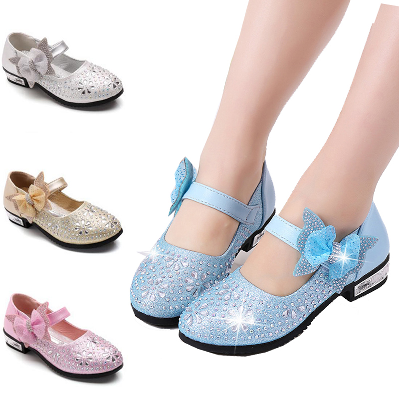 New Children's Little Girl High Heel Rhinestone Gold Blue Silver Princess Shoes For Girls Kids School Wedding Party Dress Shoes