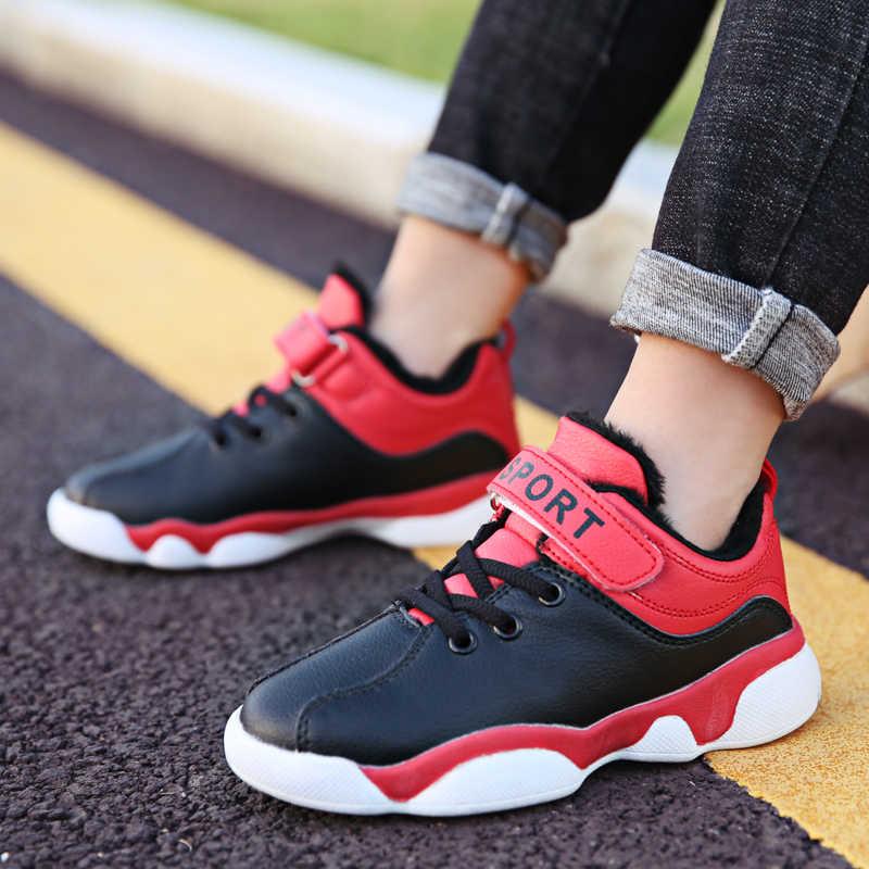Детские кроссовки для бега Цвет черный красный зимние меховые кроссовки
