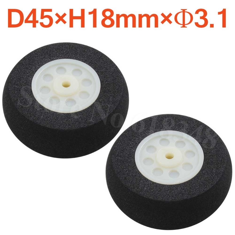 2pcs 45mm Light Foam Tail Wheels Diam: 45mm Thickness:18mm Axle hole: 3.1mm For RC Airplane Parts Replacement image