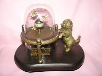 Chinese Old Vintage Works Wonderful fish-pot glass machine clock with cute cat 7.5# decoration BRASS factory outlets