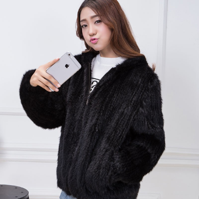 knit mink fur coat black 3