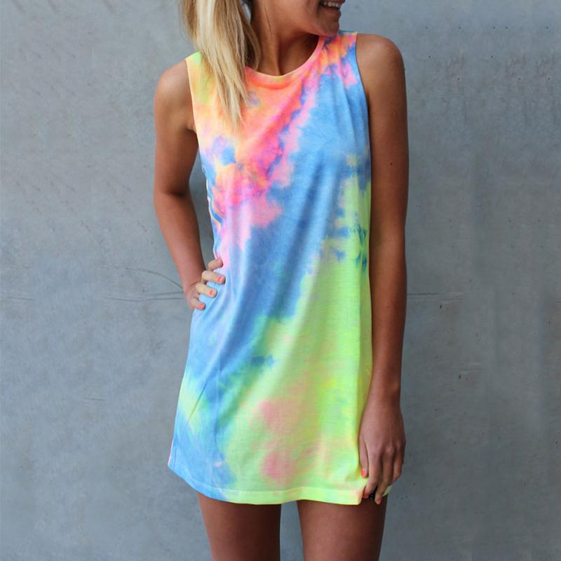 Aliexpress.com : Buy Summer Women Tie dye Print Rainbow Tank Dress ...