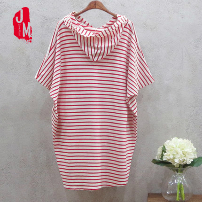 New Arrival Casual Cotton T-shirt Dress Bat Sleeve Summer Black Red Striped Hooded Women Party Dress Loose Vestidos Robe Femme