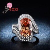 JEXXI Super Luxury 925 Sterling Silver Ring Champagne Oval Cut CZ Diamond Fashion Jewelry Engagement Wedding