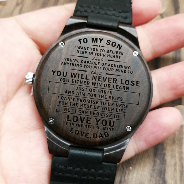 Wooden Wood Engraved Watch To My Son Love You for the Rest of Mine