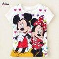 Varejo 2016 New Chegada das meninas dos meninos dos desenhos animados anime figura Minnie camisetas crianças Tops T-shirt roupas para crianças