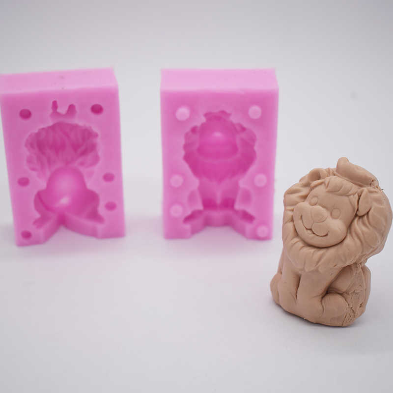 2018 New 3D Lion Cute Animal Clay Mold Molde Cemento Designer Liquid  Silicone Concrete Polymer clay molds silikonform beton
