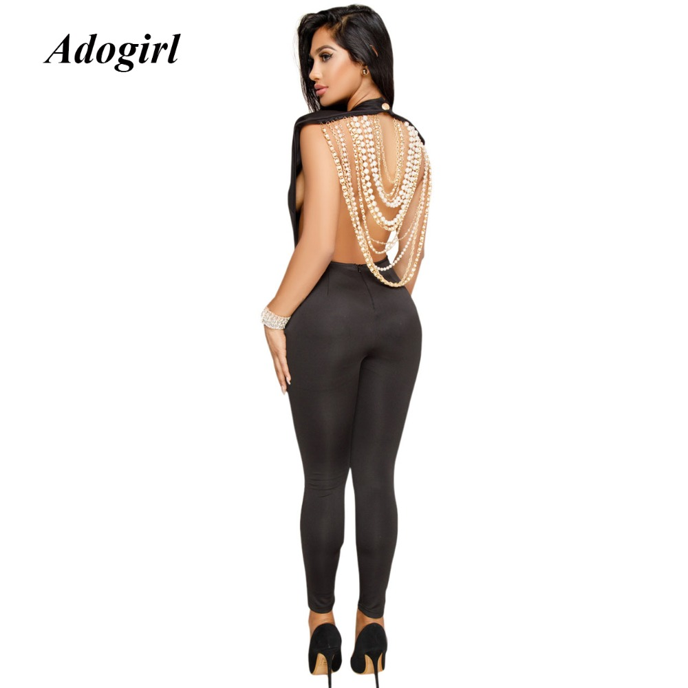 Adogirl Sexy Backless Beading Bodycon jumpsuit Women Casual Short Sleeve O Neck Women Jumpsuit Elegant Evening Party Overalls
