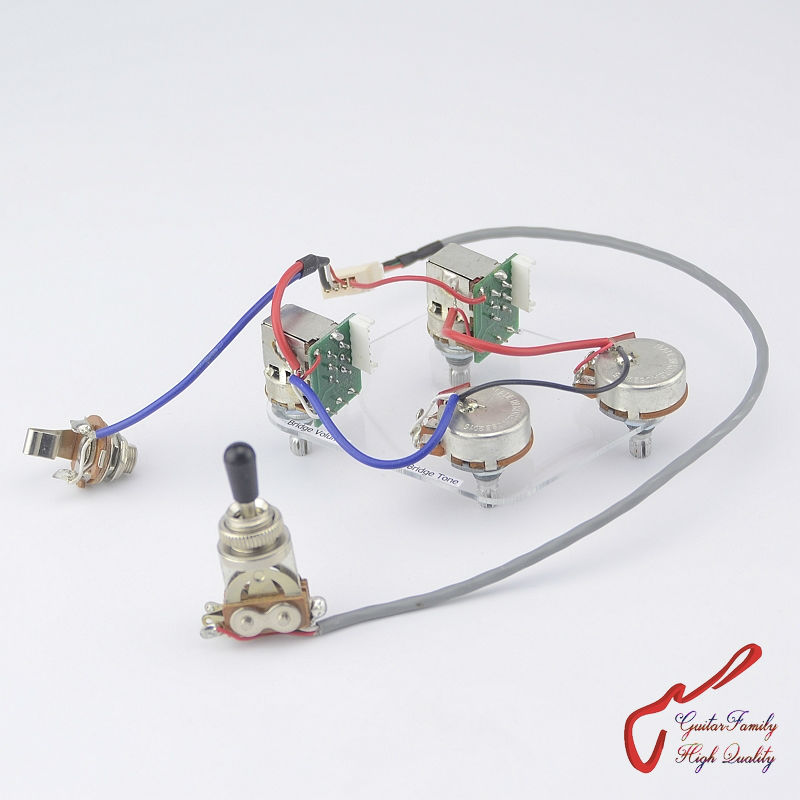 Electric Guitar Wiring Harness Kit 2V2T Pot Jack 3 Way Switch for