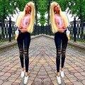 2017 Pantalones Elásticos de Las Mujeres Flacas Fit Granos de Uñas Broken Agujero Ocasional Pantalones Bengalas Bordados Negro Piel Elástica Pantalones Lápiz