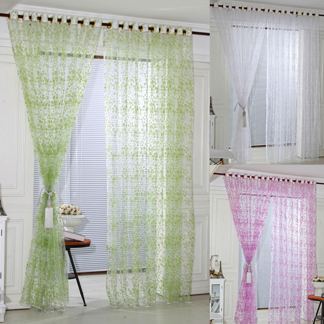 Five Leaves Flowers Sheer Voile Curtain Door Window Curtains Chic Room  Flower Sheer Curtain Home Decoration