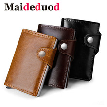 Maideduod Genuine Leather Metal Men Card Holder RFID Aluminium High quality Credit With Blocking Mini Wallet