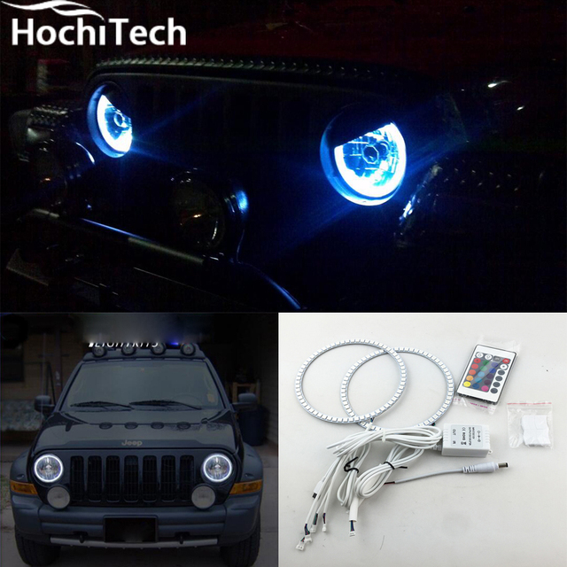 For Jeep Liberty Kj Rgb Led Headlight Halo Angel Eyes Kit Car Styling Accessories 2000 2001 2002 2003 2004 2005 2006 2007