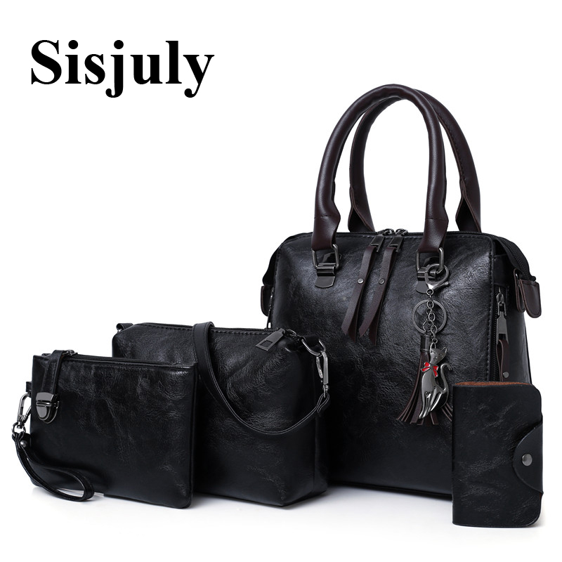 все цены на Sisjuly 4Pcs Sets Women Bag Designer Luxury Leather Handbags Tassel Female Shoulder Bags Famous Brands 2018 Women Crossbody Bags в интернете