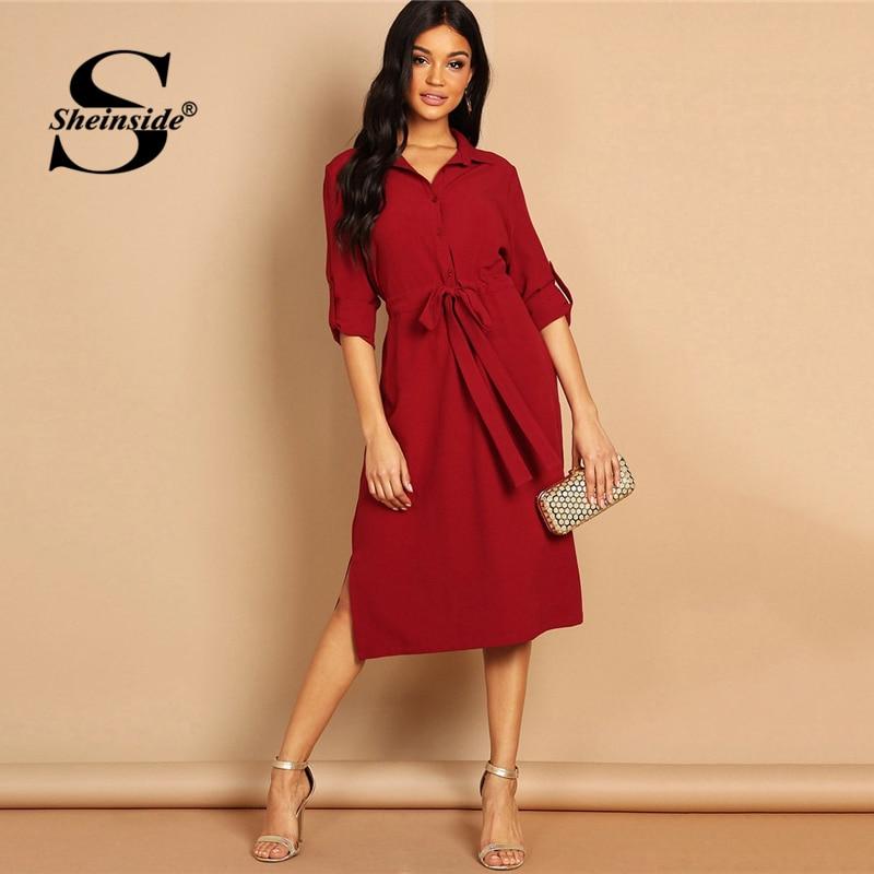 Sheinside Бургундия петля для отворота рукав шнурок талия рубашка платье женщины 3/4 рукав длинные платья на каждый день V шеи OL работа женское пл...