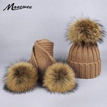 Invierno de punto Beanie sombrero bufanda establece niños Fur Pompoms  sombreros y bufandas Sets Real Raccoon 26977536df9