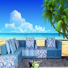 Can be customized Ocean blue sky green natural scenery home decor large mural wall 3D wallpaper room cafe Wall covering bedroom