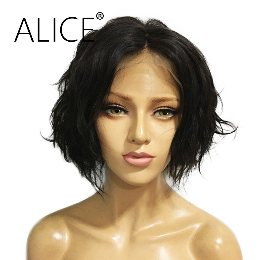 ALICE 8-14 Inch Short Wet And Wavy 360 Lace Frontal Wig With Baby Hair Brazilian Remy Hair Wigs For Black Women Bleached Knots