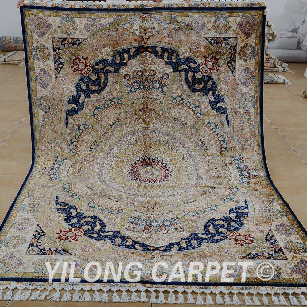 Yilong 5.6'x8.2' Antique Hand Made Persian Tabriz Carpets