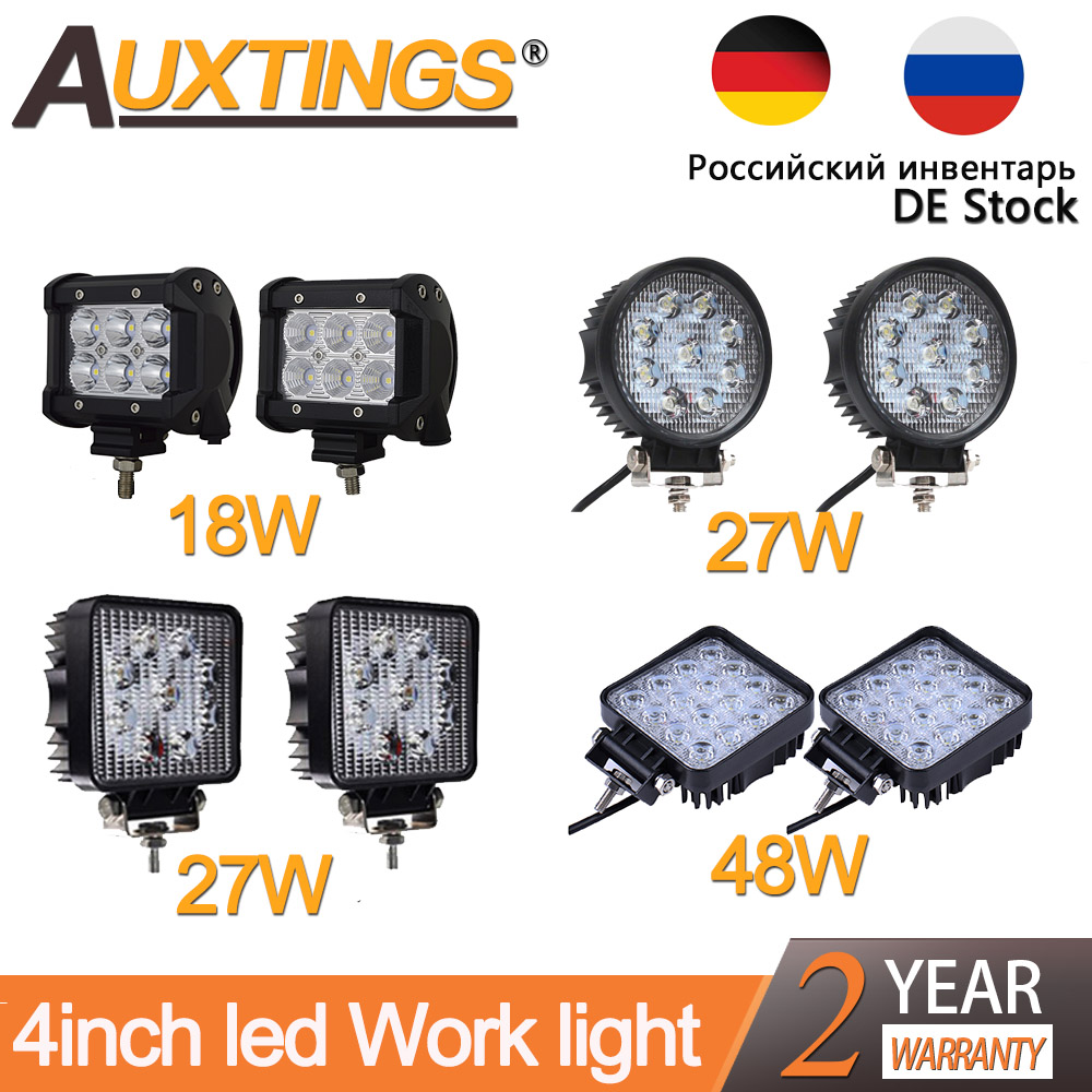 Auxtings 4'' 18W 27W 48W Offroad Car 4WD Truck Tractor Boat Trailer 4x4 SUV ATV 12V 24V Spot Flood LED Light Bar LED Work Light safego 2x 4 27w led work light 12v 24v off road 4x4 car trucks atv 4wd tractor led offroad lights flood spot driving lamp