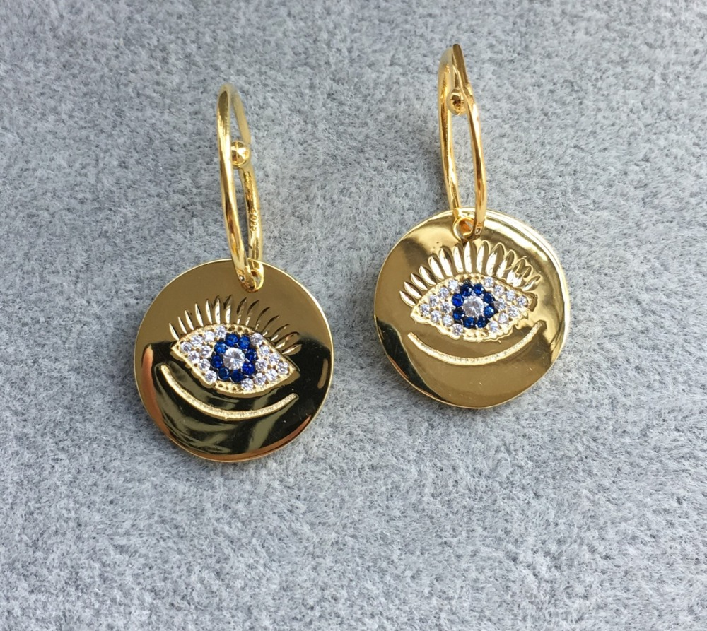 Dubai new fashion pure 925 sterling silver  zircon stone Lucky eyes earrings High quality gold color jewelry for women