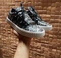 2017 Nuevo Diseñador de la Marca de Lujo del Hombre Zapatos Casuales Negro Blanco Low Cut Entrenadores Low Cut Fuera de control Al Aire Libre Masculinos Zapatos de cuero 46