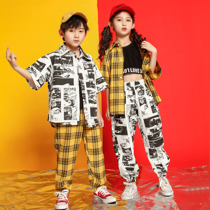 Ballroom Clothing Hip Hop Costume For Girls Loose Dance Clothes Children Exhibition Suits Streetwear Jazz Shirts Dancewear Pants