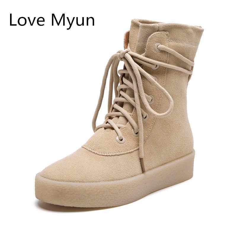 656ebbd7 Новый нубук кожа зимние ботинки Женская мода с круглым носком на шнуровке  высокие ботинки для влюбленных