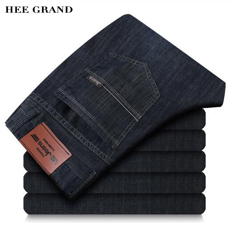 HEE GRAND Jeans Men 2017 Summer Autumn Casual&Business Dark Color Straight Mid-waist Jeans MKN679 hee grand 2017 british style plus size men solid jeans full length straight mid waist comfortable male jeans mkn858