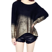 Female Gradient Metallic Batwing Sleeved Pull over Loose Sweater Casual High Low Golden Silver Back Split Jumpers & Knit Top