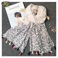 1 UNID 180*100 CM 2016 Nuevo Diseño de Estilo Coreano de La Flor de Acrílico Algodón de Las Mujeres de Las Borlas Bufanda Larga de La Mujer Nueva Algodón viscosa Pashminas
