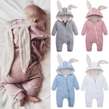 Infant Baby Boy Girl Long Ears Romper Warm Clothes Autumn Winter Baby Long Sleev