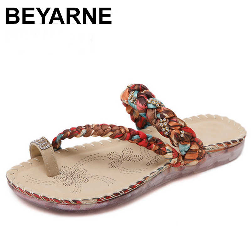 BEYARNE נשי קיץ סנדלי כפכפים נעלי אישה הדפסת בד לארוג סגנון נשים חוף נעלי עם שקוף בלעדי