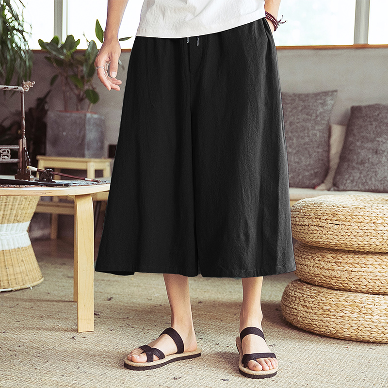 Male Women Cotton Linen Skirt Trousers Travel Harem Pant Men Summer Casual Loose Wide Leg Pant