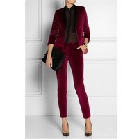 Women Pant Business Women's Tuxedo Red Velvet Wine Suits Business Suits Formal Work Suits New Fashion Wear