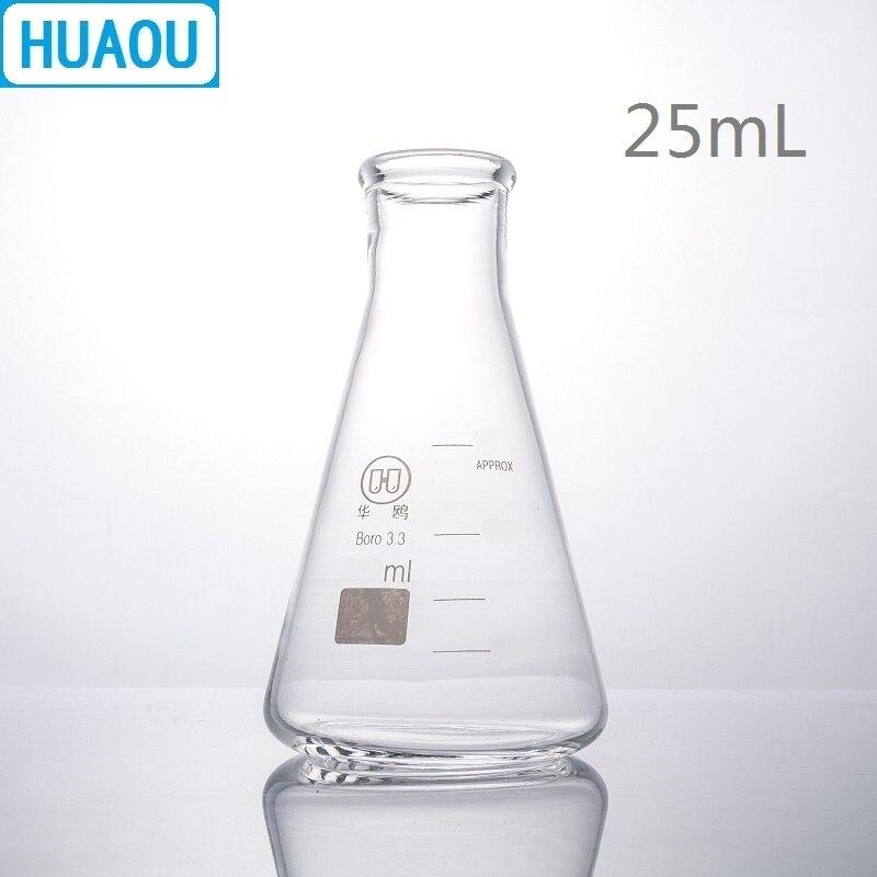 HUAOU 25mL Erlenmeyer Flask Borosilicate 3.3 Glass Narrow Neck Conical Triangle Flask Laboratory Chemistry Equipment