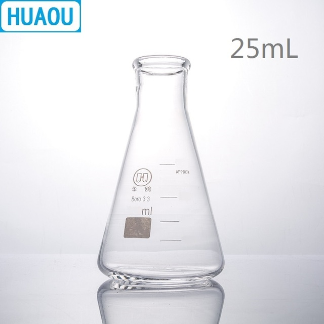 US $0 79 |HUAOU 25mL Erlenmeyer Flask Borosilicate 3 3 Glass Narrow Neck  Conical Triangle Flask Laboratory Chemistry Equipment-in Flask from Office  &