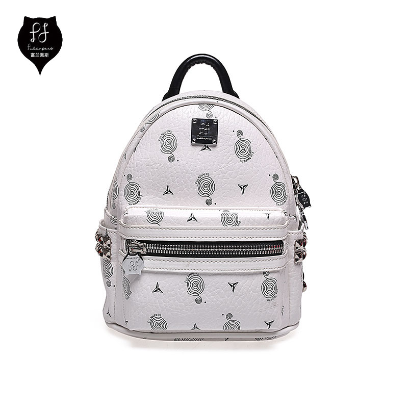 A0702 FULANPERS Women's Studded Mini Backpack Female Double Zip Rivet Printing Leather Travel Back Pack School Bag все цены