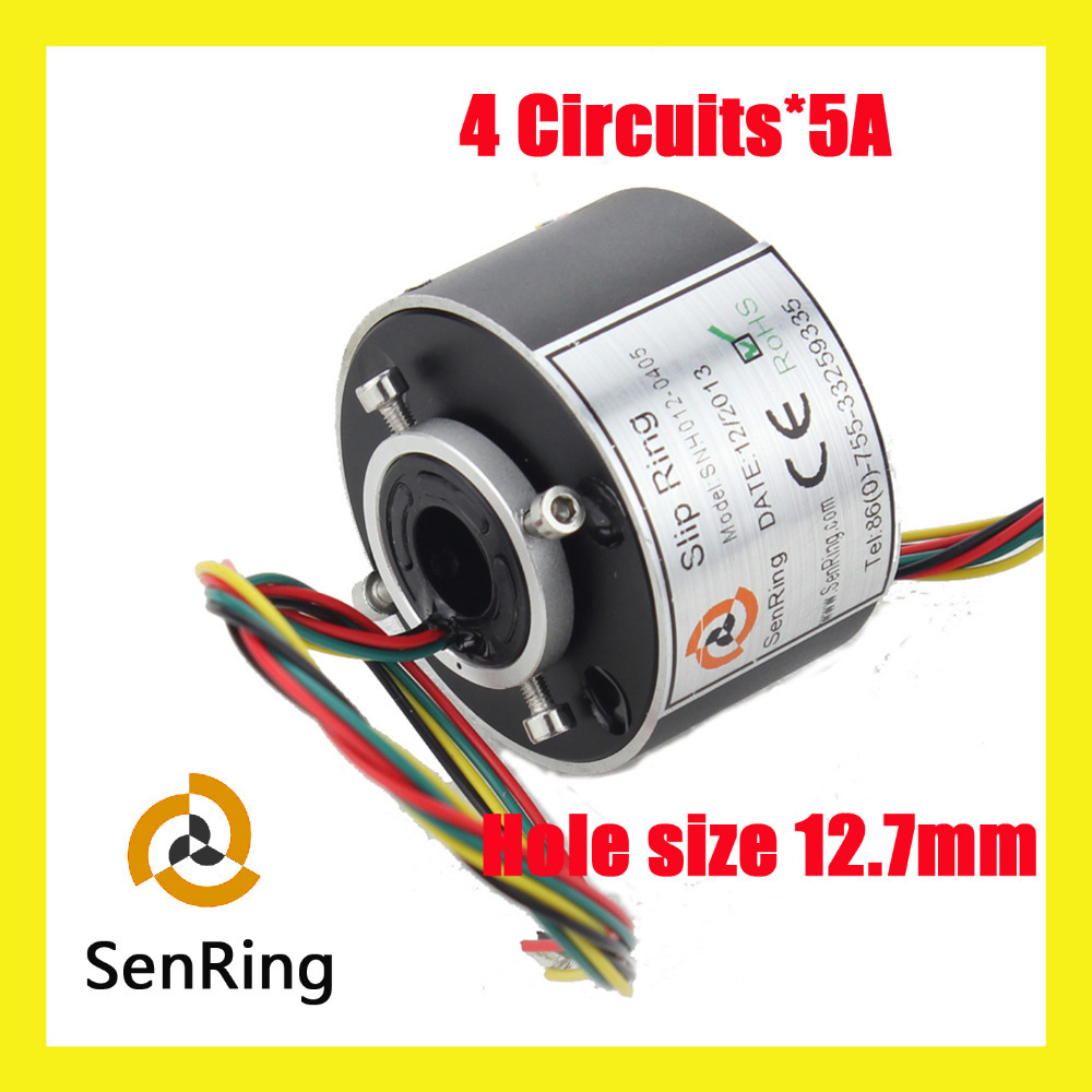 Miniature generator motor 4 circuits/wires each 5A with through bore 12.7mm slip ring rotary joint wind turbine slip ring 4 circuits each 10a of generator motor equirepment