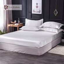 Liv-Esthete 1PCS Luxury 100% Silk White Fitted Sheet Wholesale Elastic Band Mattress Cover Queen King Bed Sheets For Women Men