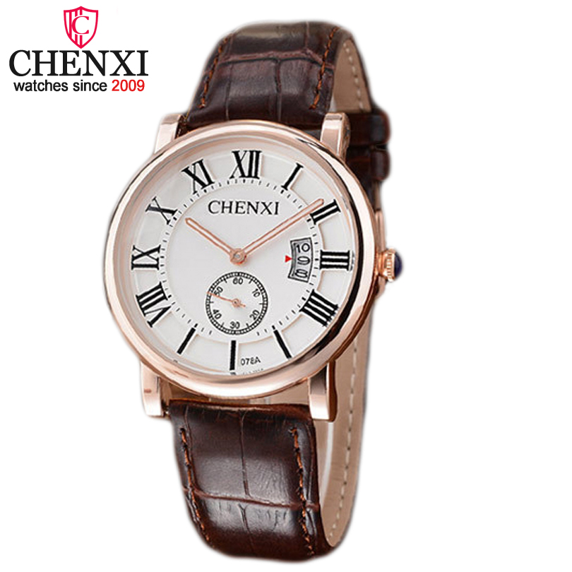 CHENXI Brand Top Luxury Rose Gold Casual Sports Men Watches Leather Quartz Watch Male Calendar Function Wristwatch Montres Homme 2016 chenxi calendar gold quartz watch