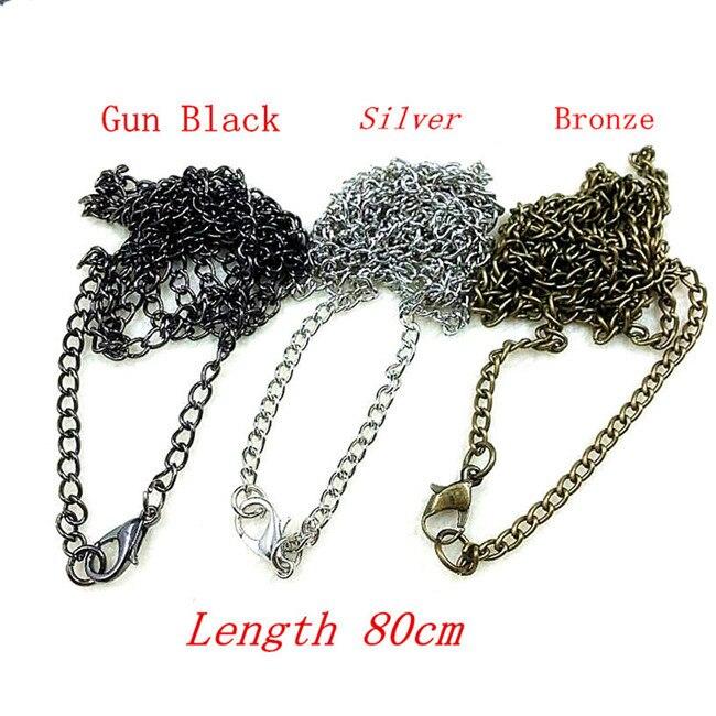 Hierro Cadenas Borla de Plata Bronce Negro Pistola Plateado Longitud 80 cm 10 un