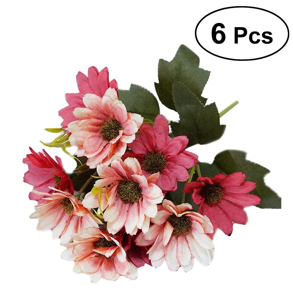 Bestoyard 6 Pcs Silk Daisy Artificial Flowers Bouquet Simulation