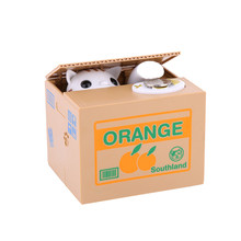 Creative Piggy Bank Coin Stealing Cat Box