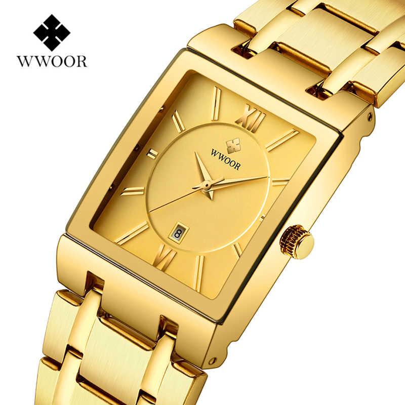 WWOOR роскошные часы топ бренда мужские прямоугольные часы из натуральной нержавеющей стали золотые часы модные деловые кварцевые наручные часы